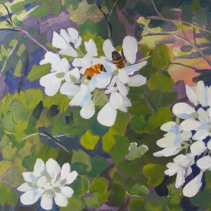 Bees on Mexican Orchid Painting